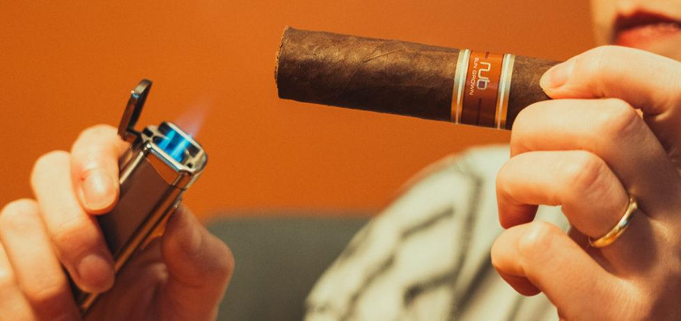 Lighting a Nub Sungrown 460 cigar