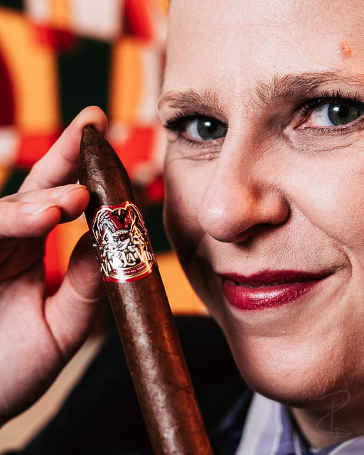 The Viva la Vida Torpedo and one happy lady cigar smoker