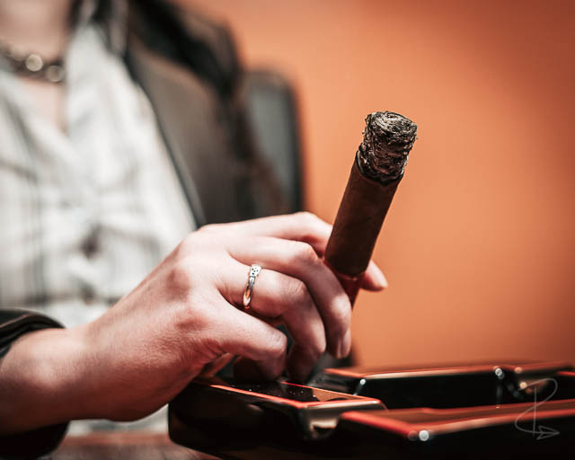 Close up on the perfect ash of a Partagas Serie D No.4