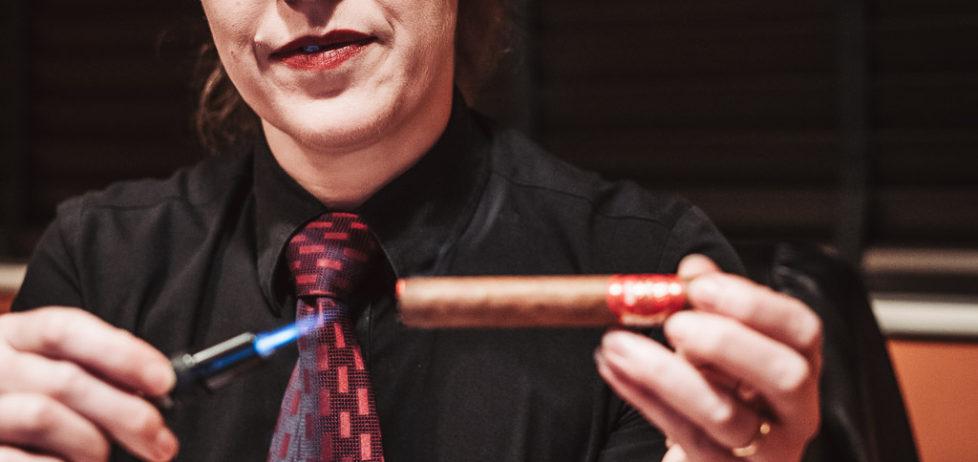 The HVC Edicion Especial 2018 corona cigar being lit
