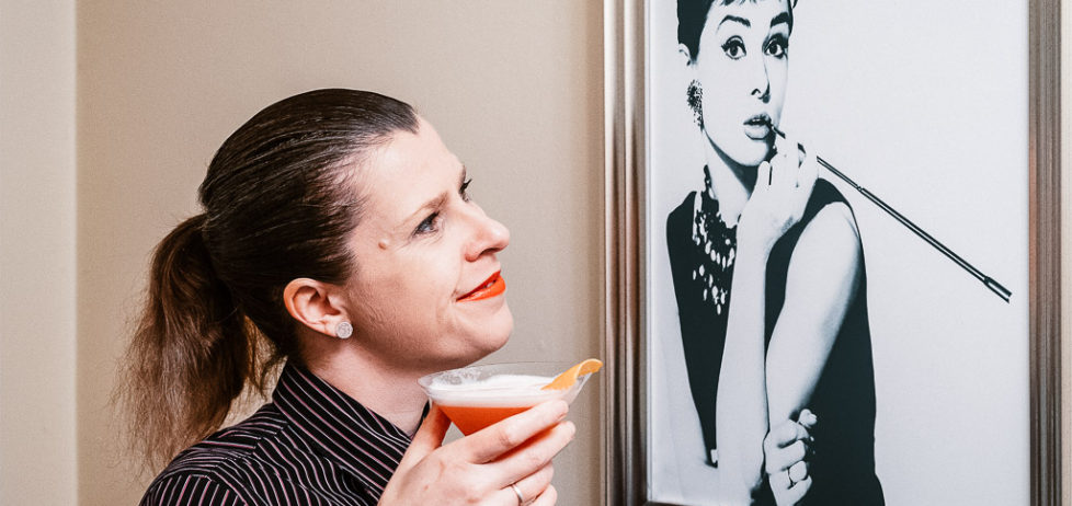 Enjoying a My Fair Lady cocktail with the elegant Audrey Hepburn