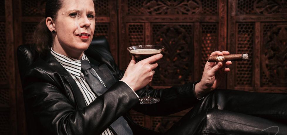 Enjoying a Brick House Robusto with a vanilla espresso martini