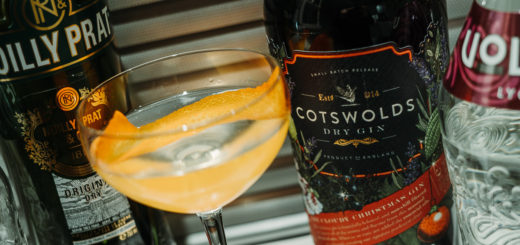 The China Martini cocktail in a coupette glass, pictured with Cotswolds Dry Gin