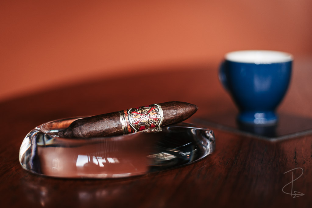 The Arturo Fuente Opus X Love Affair perfecto cigar sitting patiently waiting to be lit and savoured