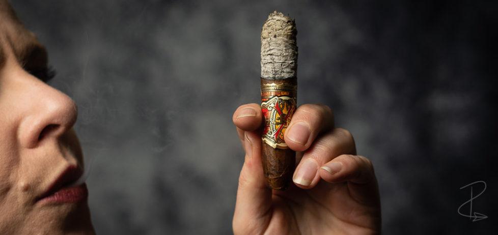 Admiring the beautiful long ash on the Arturo Fuente Opus X Love Affair perfecto cigar