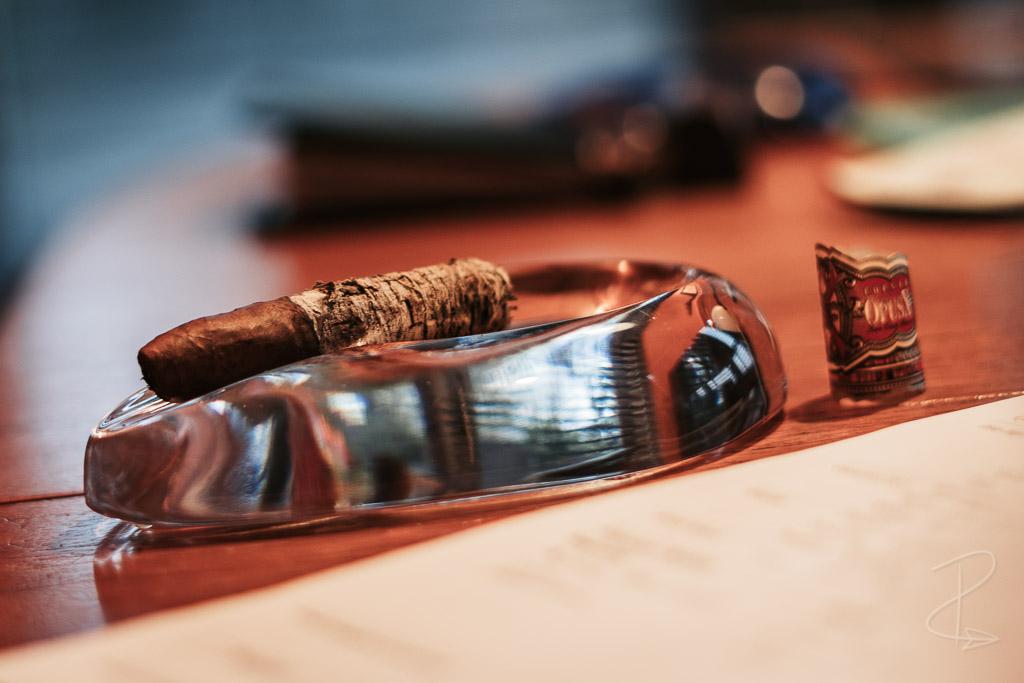 The perfect long ash on the Arturo Fuente Opus X Love Affair perfecto cigar
