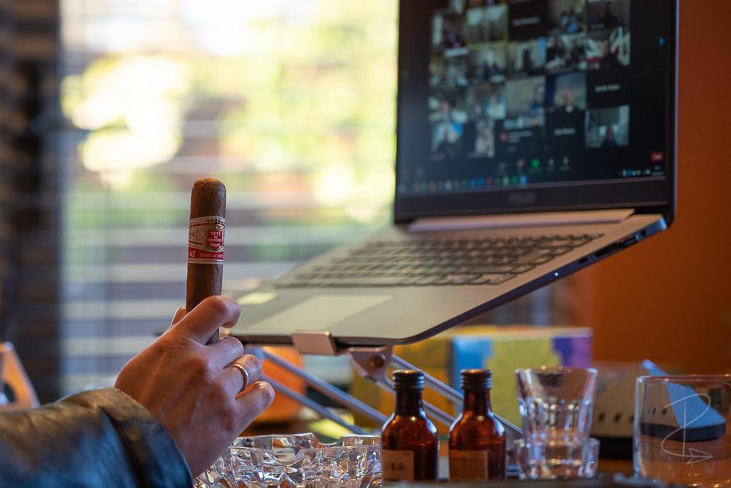 Getting ready to smoke the Hoyo de Monterrey Le Hoyo Rio Seco cigar at a virtual tasting with CGars Ltd