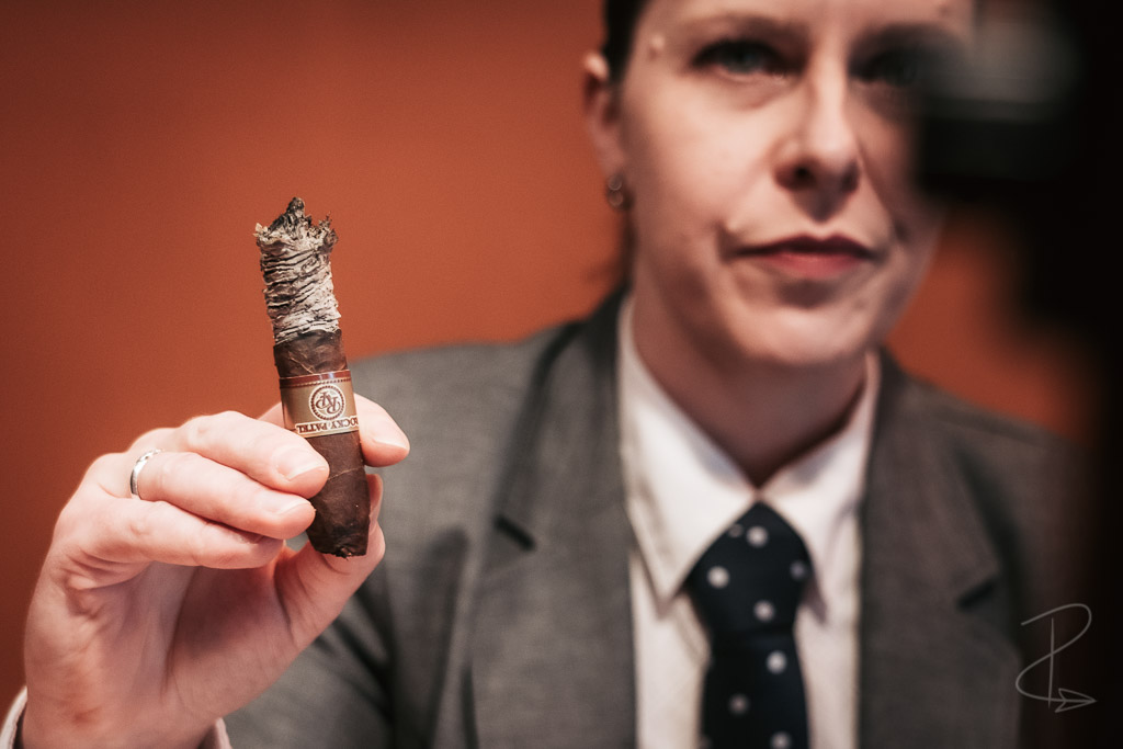 The strong white ash from the Rocky Patel Royale Torpedo cigar