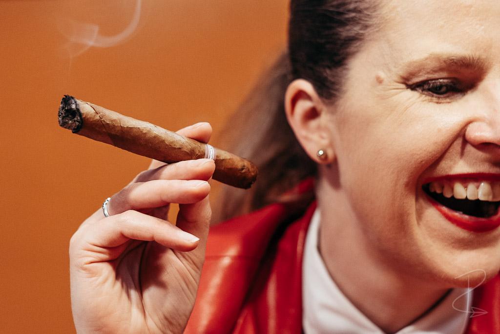 Enjoying the Sancho Panza Non Plus Petit Corona cigar with good company
