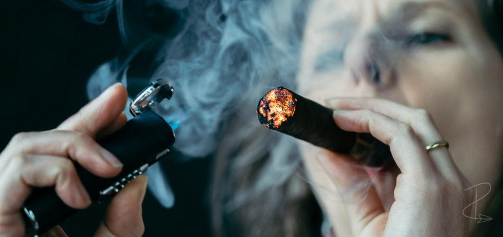 Lighting up a Liga Undercrown Maduro Robusto cigar