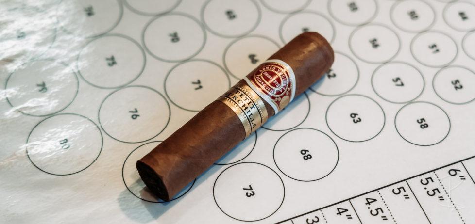 The Romeo y Julieta Petit Churchill cigar waiting to be lit