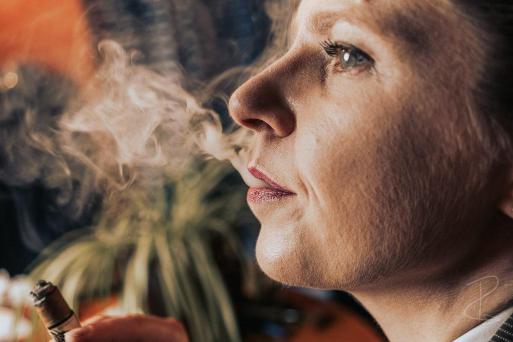 The glorious amounts of smoke from the Quorum Shade Grown Tres Petit Corona budget cigar