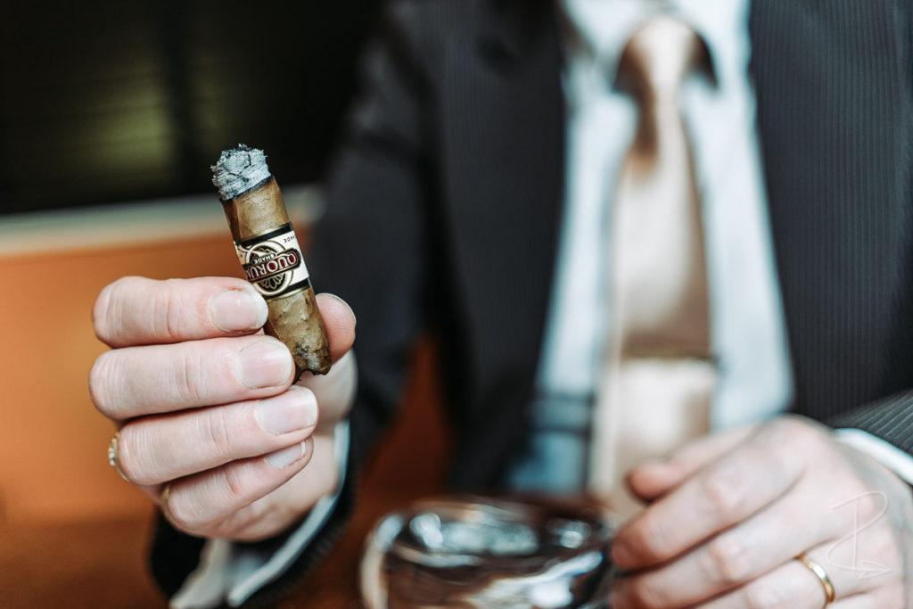 Halfway through smoking the Quorum Shade Grown Tres Petit Corona budget cigar