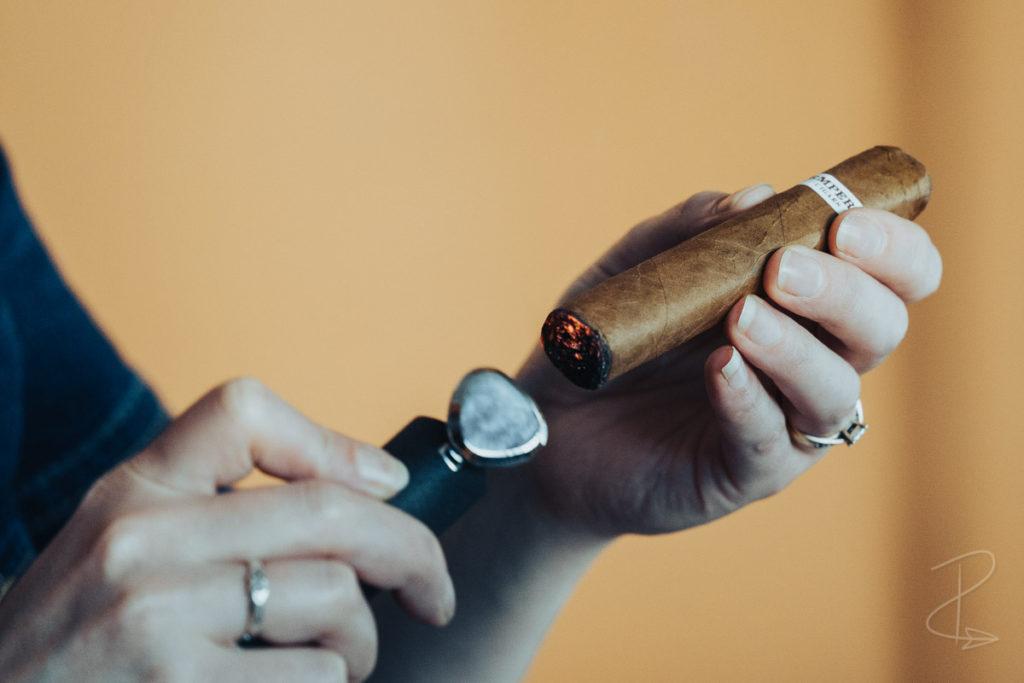 Lighting up the RoMa Craft Intemperance cigar