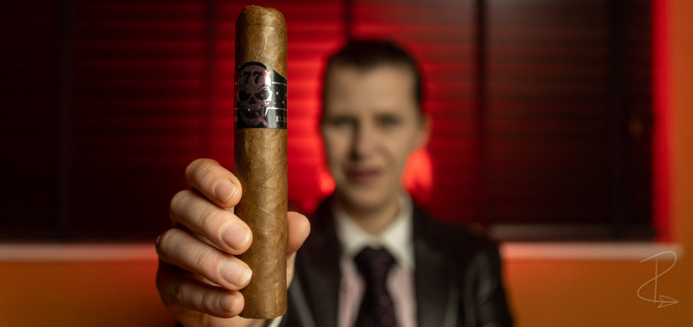 The mighty Skull 77 El Diablo double gordo cigar coming in a 6 inches long with a 66 ring gauge